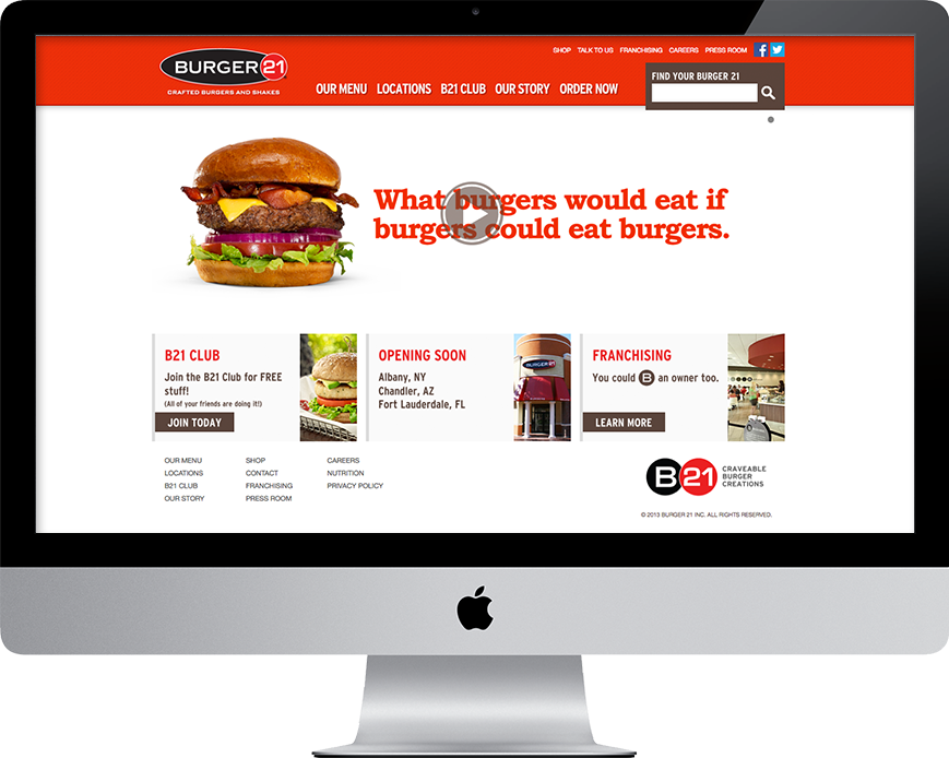 Burger 21 Restaurant Website